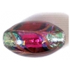 Glass Lamp Bead 19x13mm Oval Rose/Green